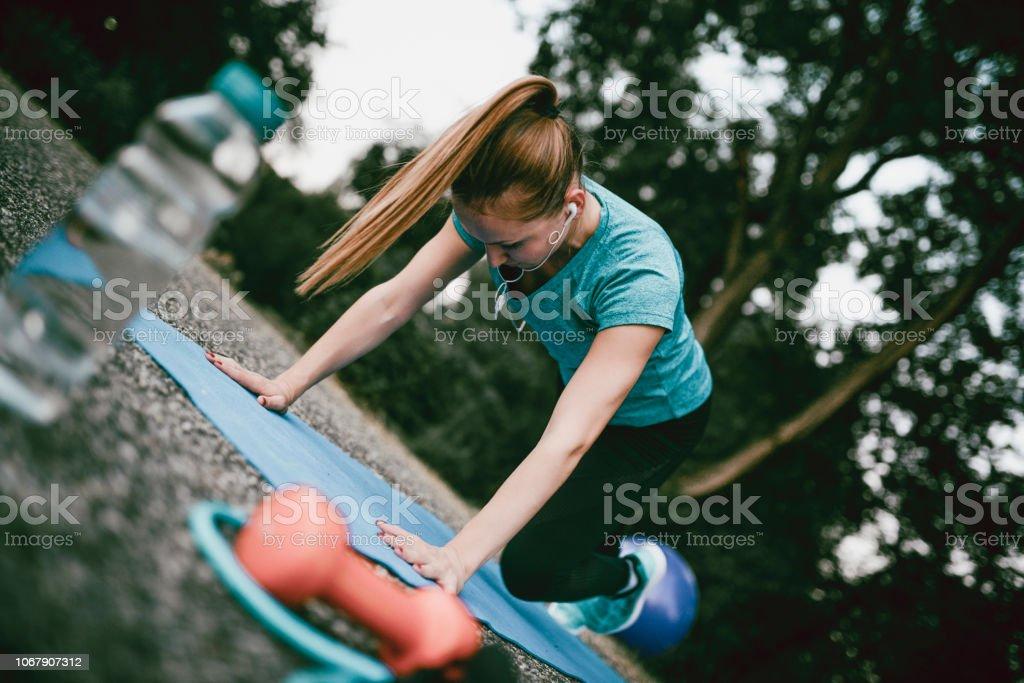Preparing For Outdoors Push-Ups stock photo