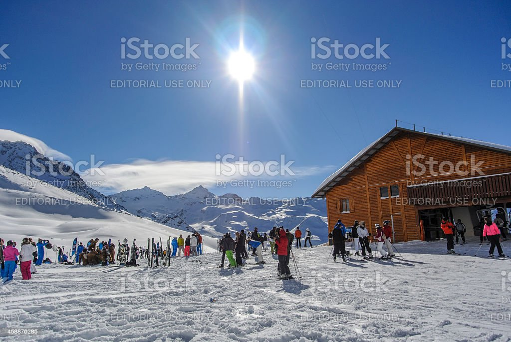 Preparing for skiing royalty-free stock photo
