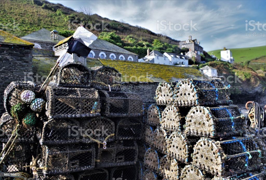 Preparing for the Catch - Cornish Lobster Pots ready for use on the Quay at Port Isaac, Cornwall, Southwest England stock photo
