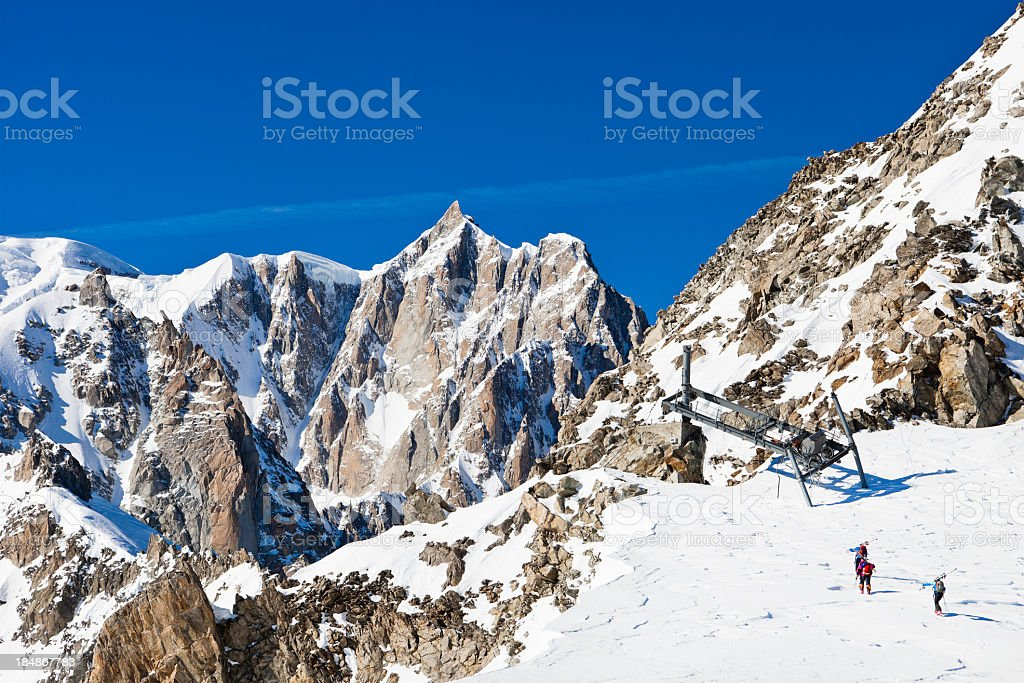 Preparing for the descent from Mont Blanc Massif stock photo