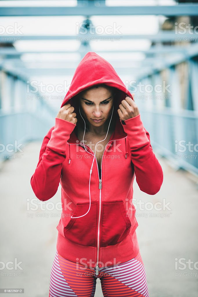 Preparing for workout stock photo