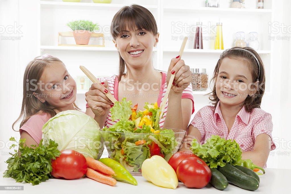 Preparing fresh vegetable salad royalty-free stock photo