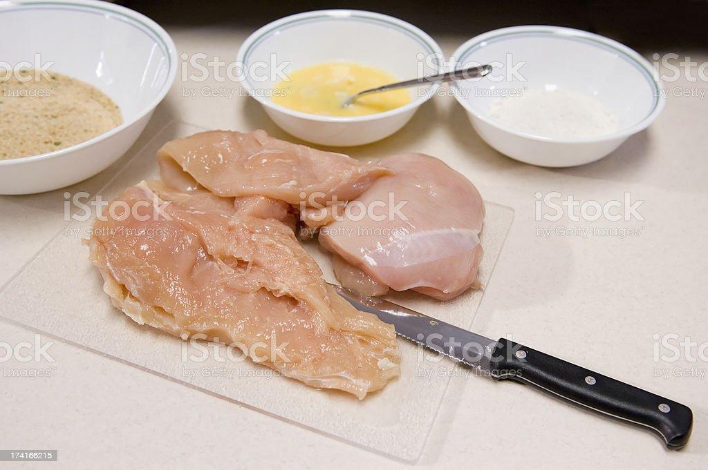 Preparing Fried Chicken royalty-free stock photo