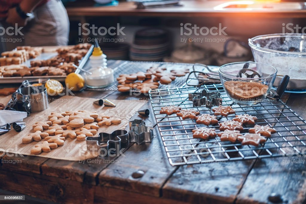 Preparing Gingerbread Cookies in Domestic Kitchen stock photo