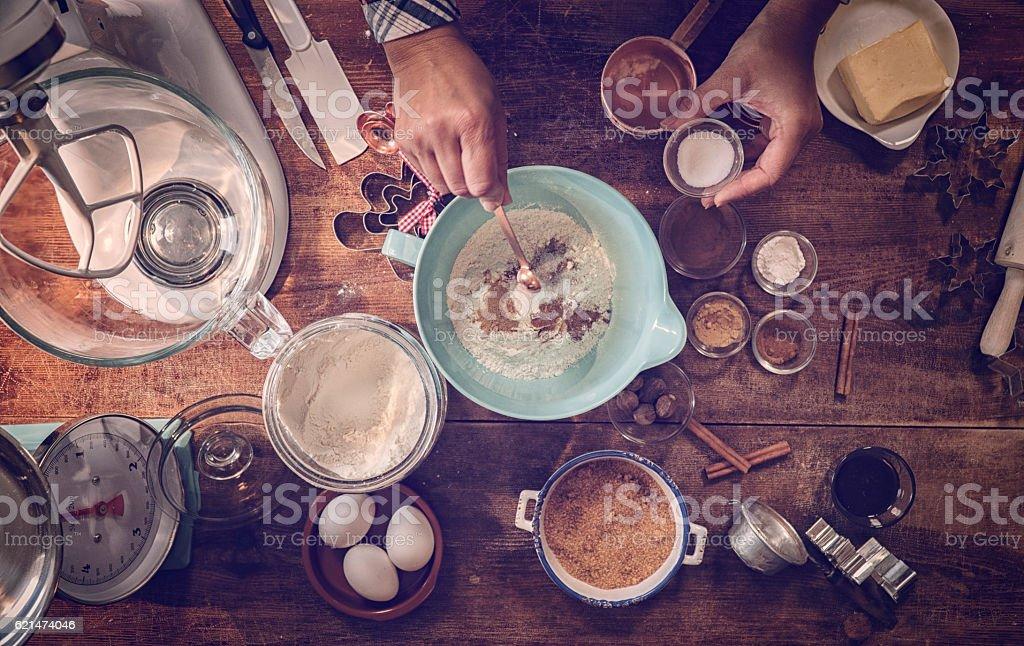 Preparing Gingerbread Dough in Domestic Kitchen – Foto