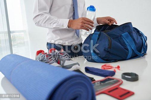 istock Preparing gym bag 518112316