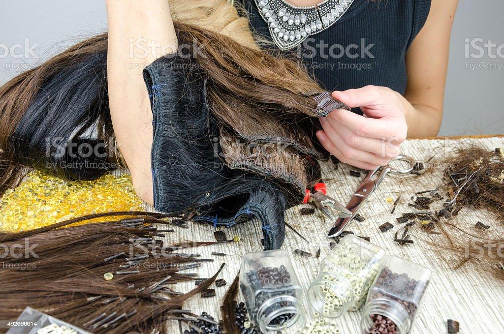 Preparação de cabelo para upgrade - foto de acervo