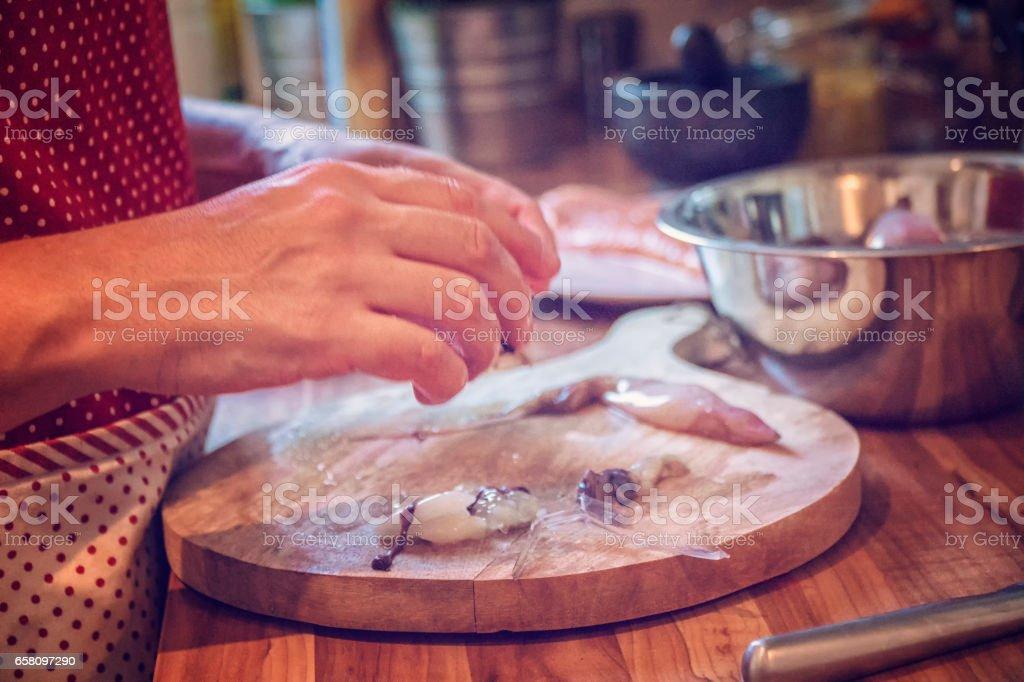 Preparing Healthy Squid Dish royalty-free stock photo