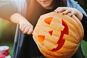 Pumpkin, Domestic Life, Halloween, Holiday - Event, Human Hand