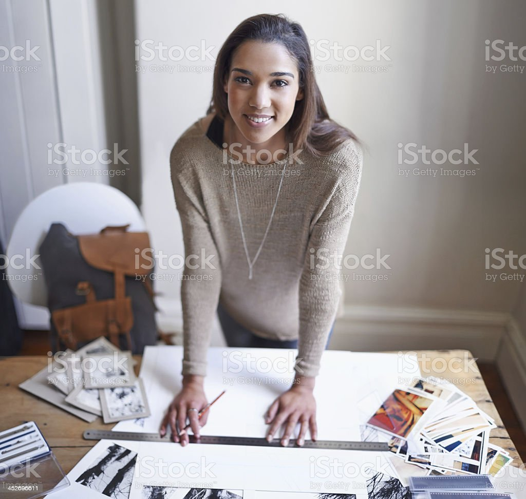 Preparing her portfolio stock photo