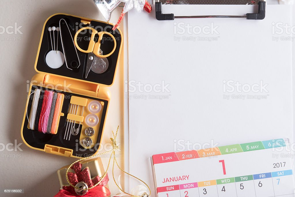 preparing holiday gifts equipment and blank white paper stock photo