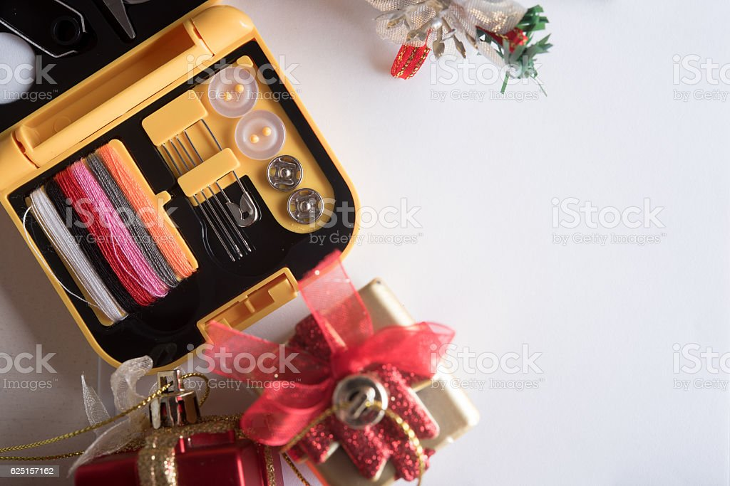 preparing holiday gifts equipment  on the table stock photo