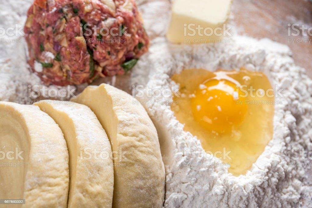 Preparing Homemade Beef Stuffed Empanada royalty-free stock photo