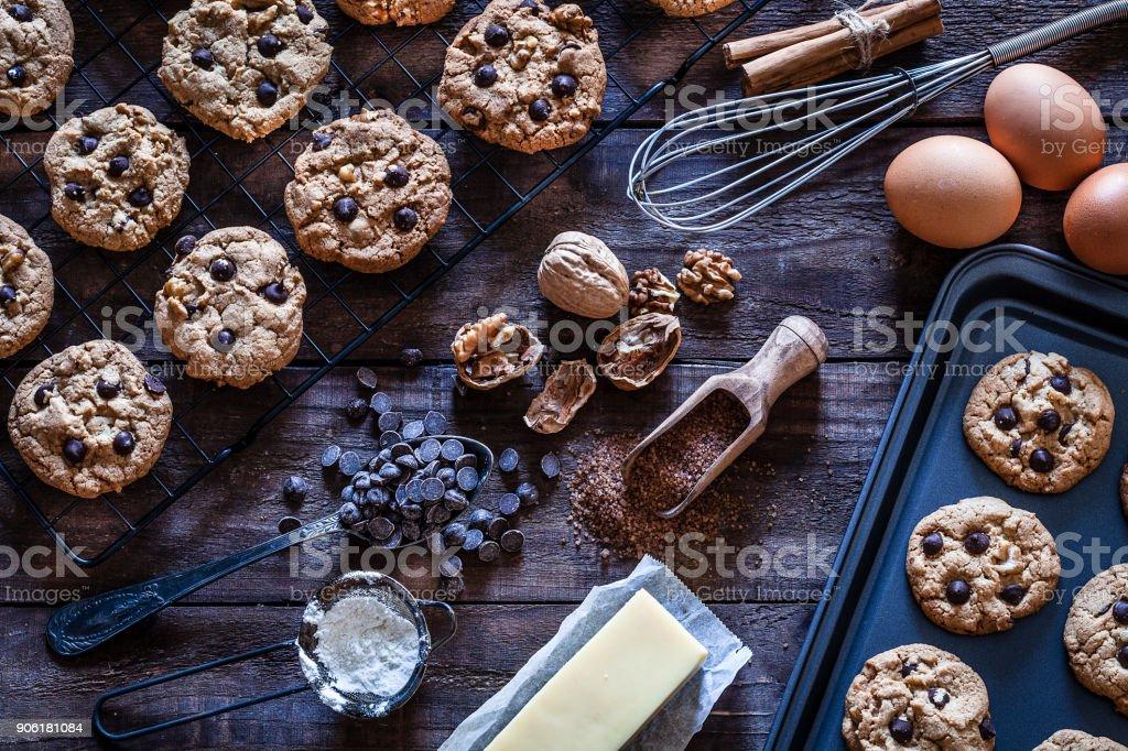 Preparing homemade chocolate chip cookies stock photo