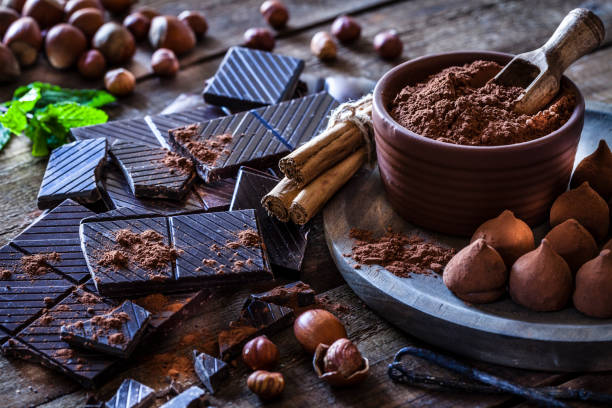 preparing homemade chocolate truffles - chocolate imagens e fotografias de stock