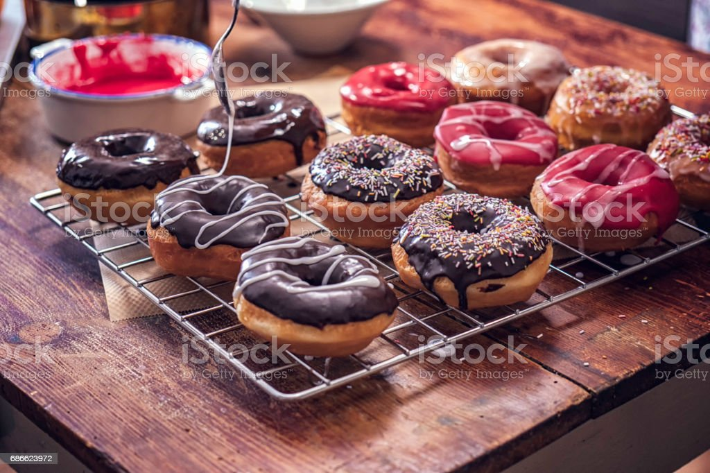 Preparing Homemade Donuts stock photo