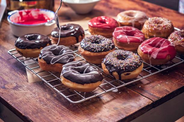 Preparing Homemade Donuts stock photo