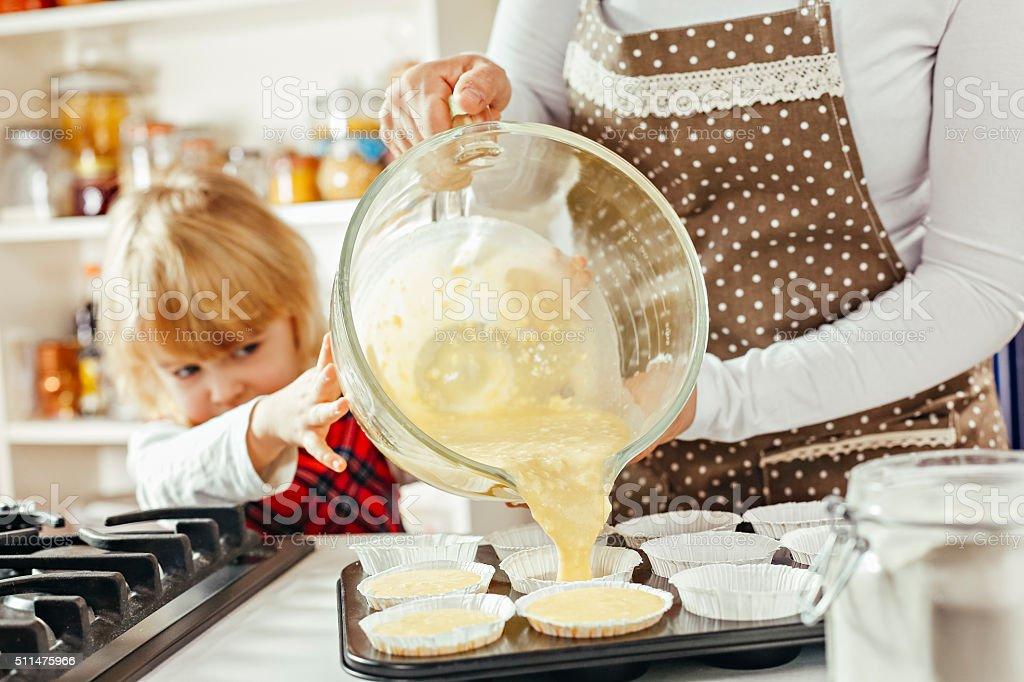 Preparing Homemade Muffins stock photo
