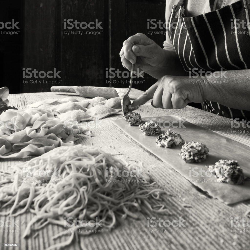 Preparing Homemade Pasta stock photo