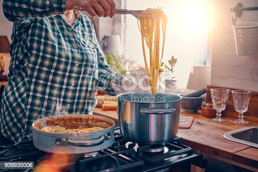 Preparing Homemade Spaghetti Bolognese