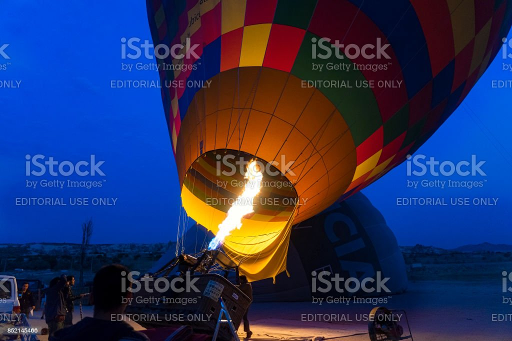 Preparing Hot Air Balloons To Fly over Cappadocia stock photo