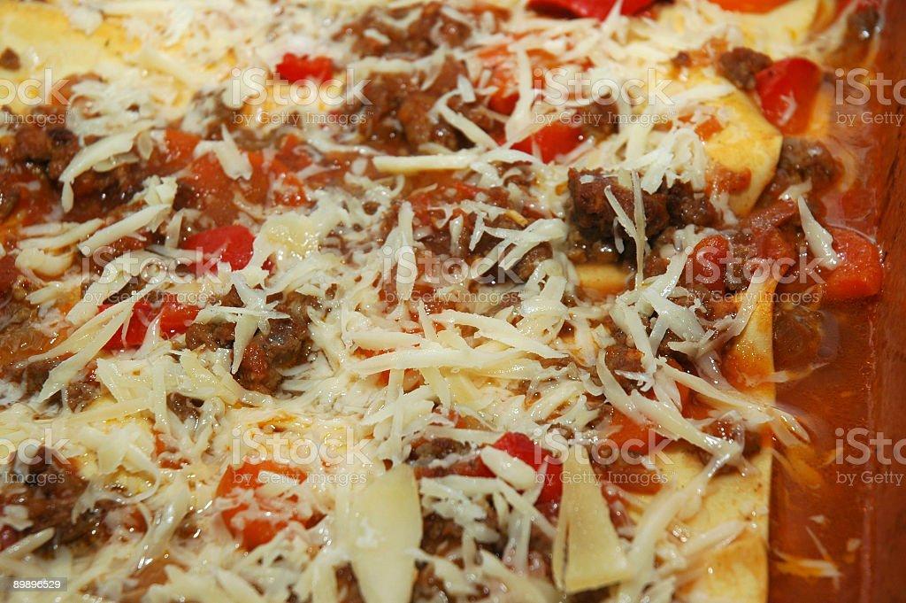 Preparing Lasagna - close up stock photo