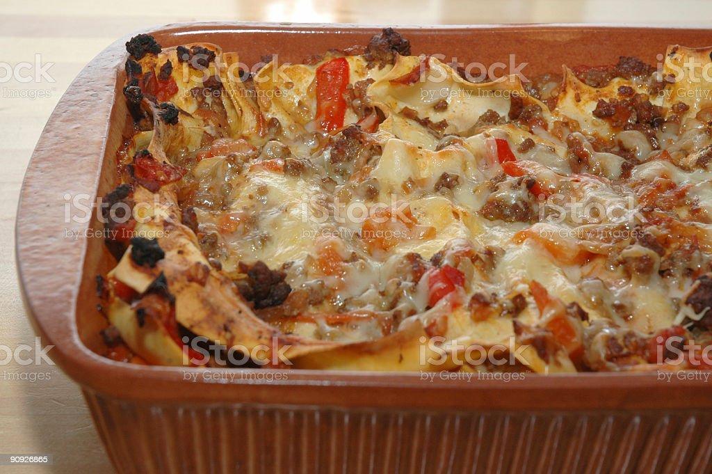 Preparing Lasagna stock photo