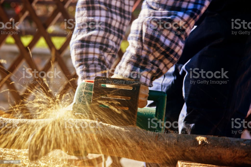 preparing logs for the winter royalty-free stock photo