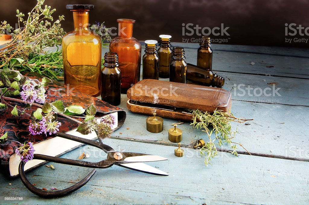 preparing natural medicine, healing herbs and equipment, copy space stock photo