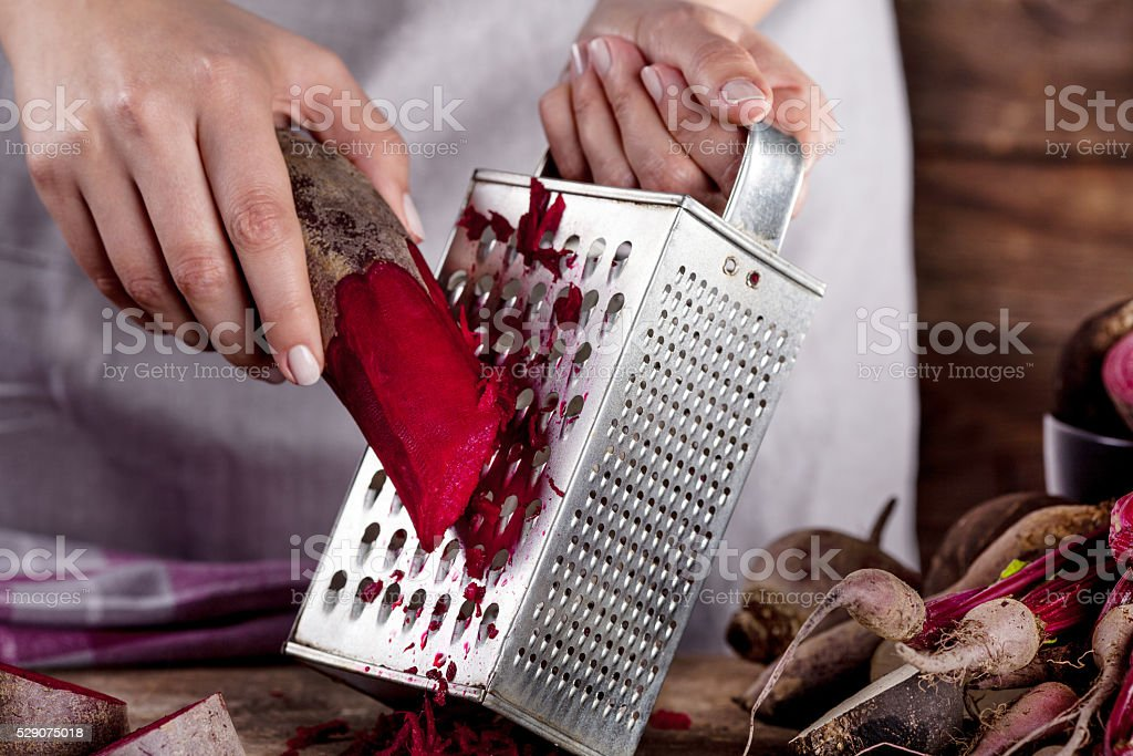 Preparing organic dinner with beetroots stock photo