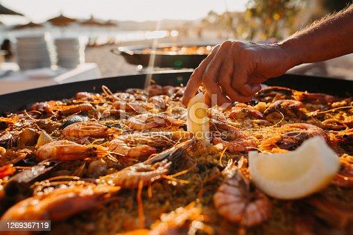 istock Preparing Paella on the beach in Majorca 1269367119