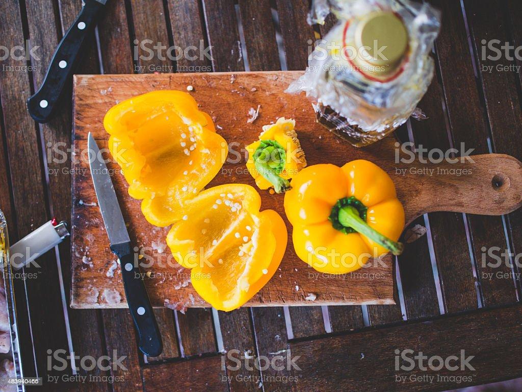 Preparing Peppers For Dinner stock photo