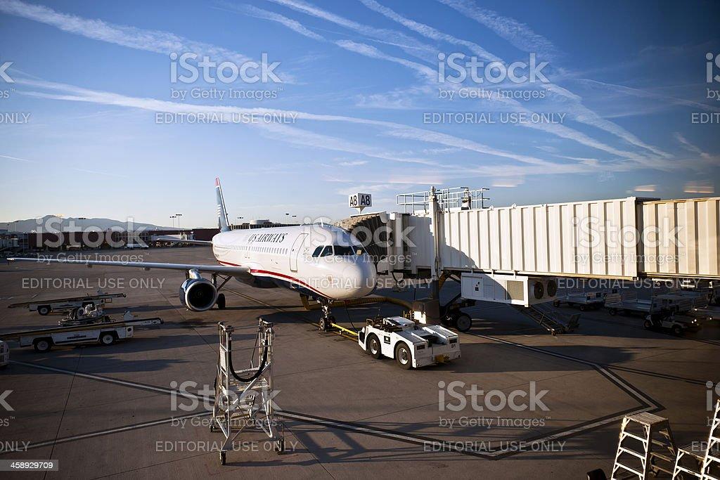 Preparing Plane Before Take Off Las Vegas stock photo