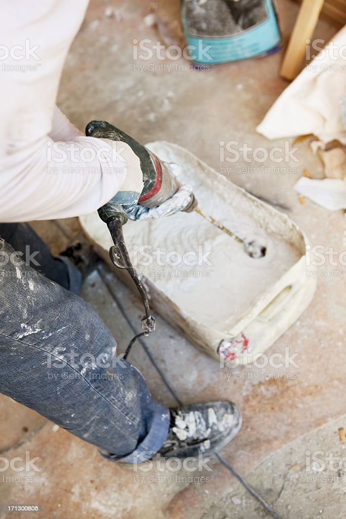 preparing plaster stock photo