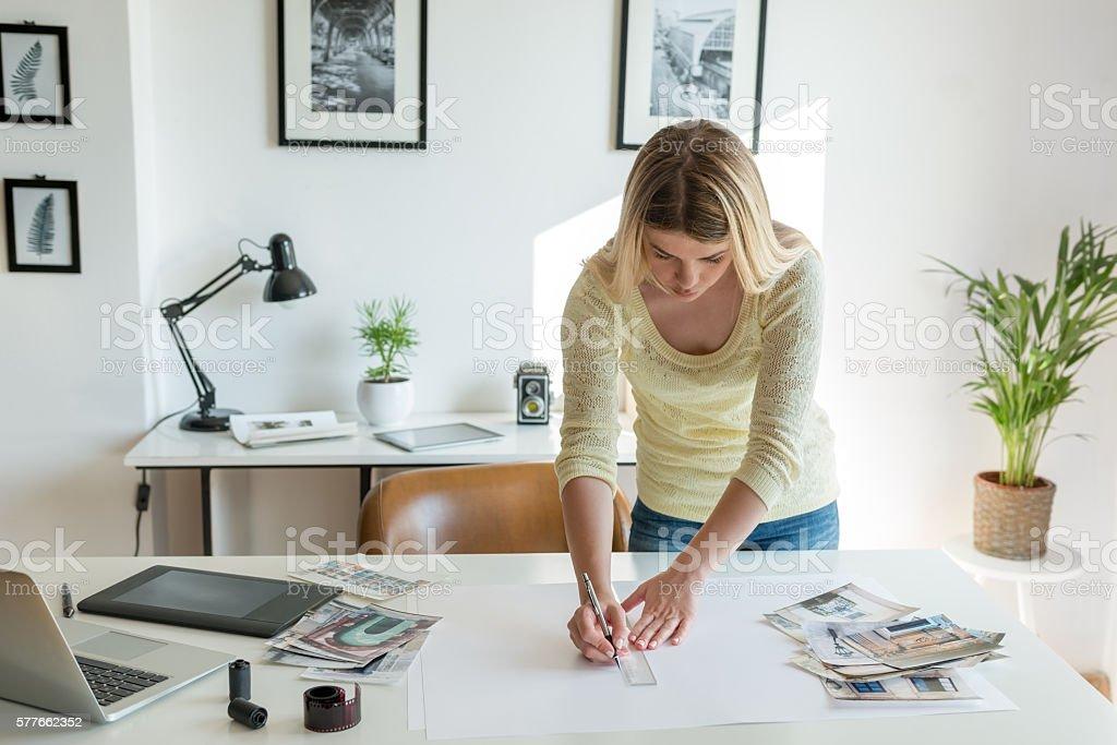 Preparing potrfolio stock photo