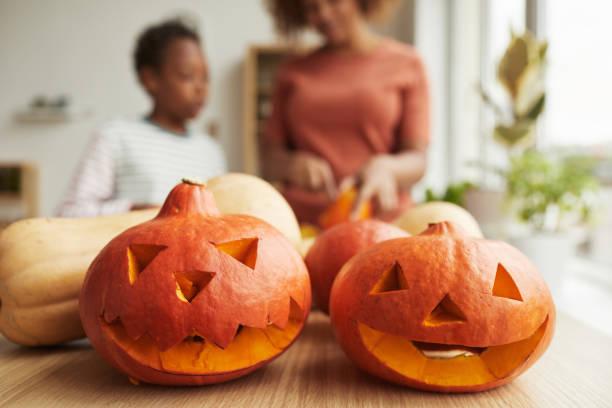 Preparing Pumpkins For Halloween stock photo