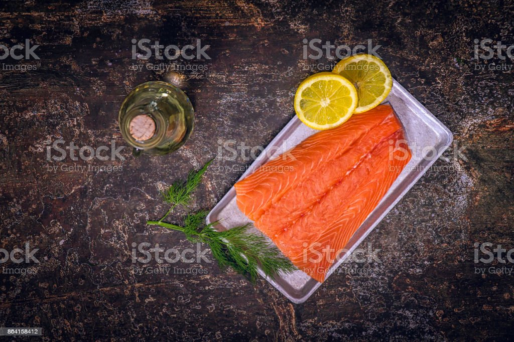 Preparing Salmon Fillet Dish royalty-free stock photo