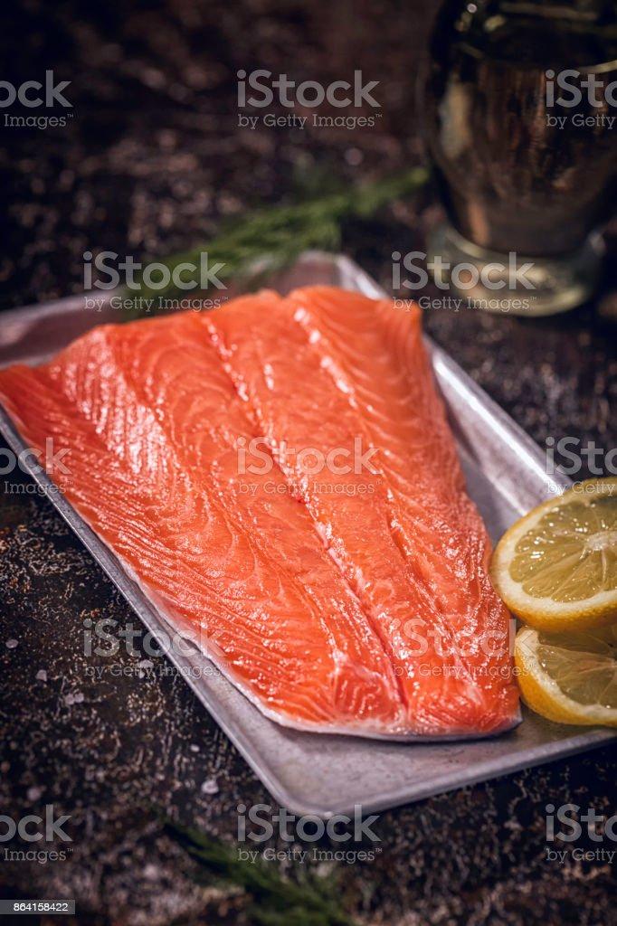 Preparing Salmon Fillet Dish royalty-free stock photo