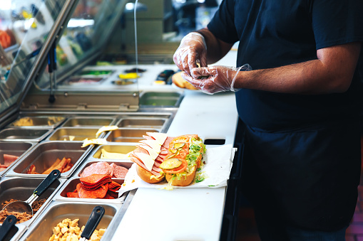 the kitchen of fast food restaurant