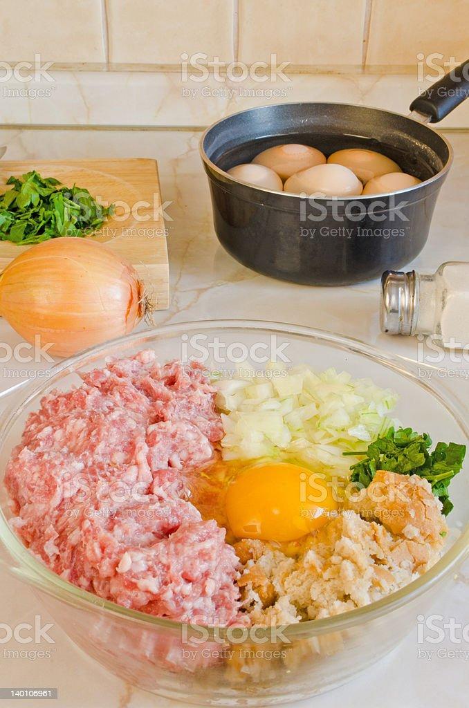 Preparing Scotch Eggs stock photo