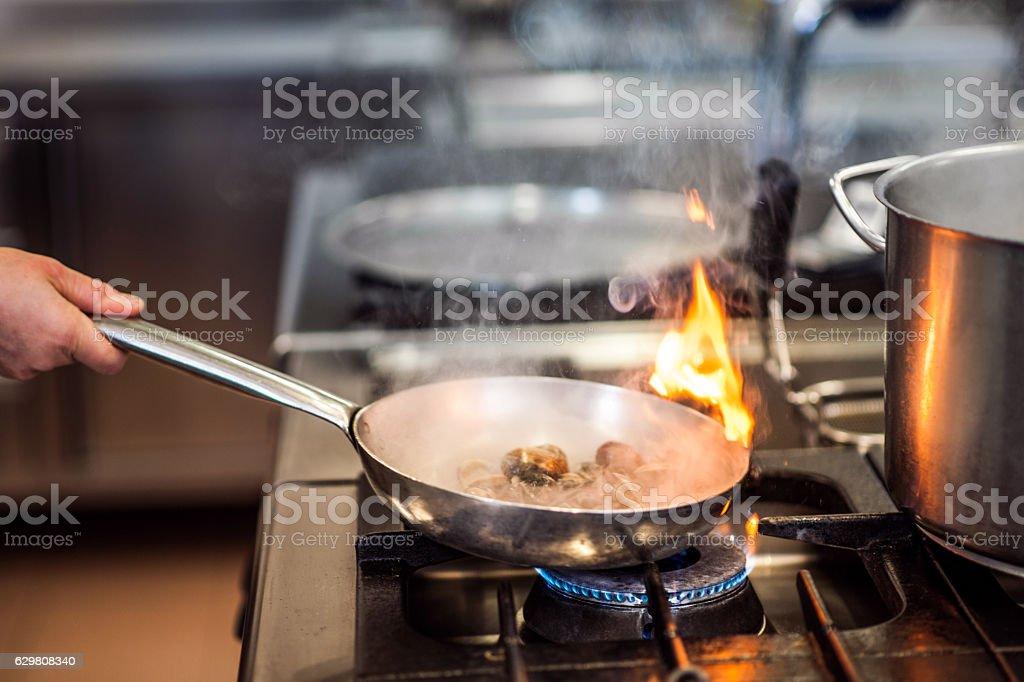 Preparing Sea Clams in a Pan stock photo