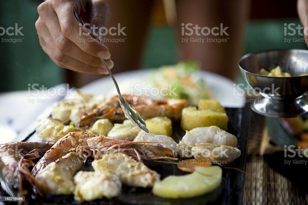 Preparing seafood royalty-free stock photo