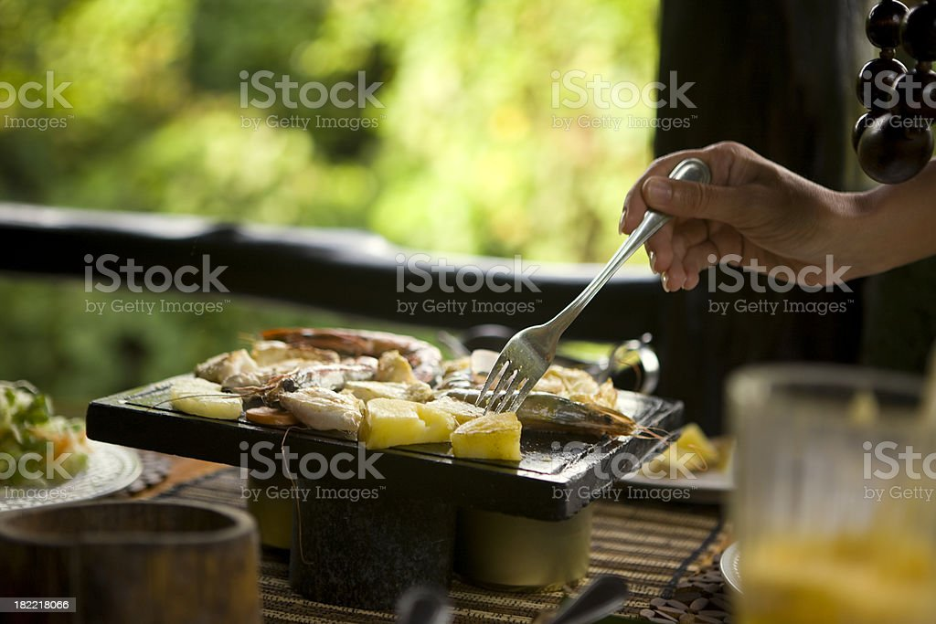 Preparing seafood royalty-free stock photo