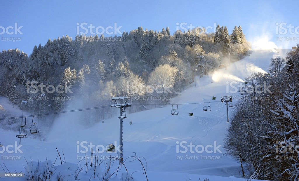 Preparing ski slopes for the high season royalty-free stock photo