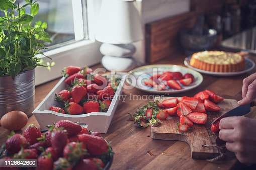 Preparing Strawberry Tart with Vanilla Cream