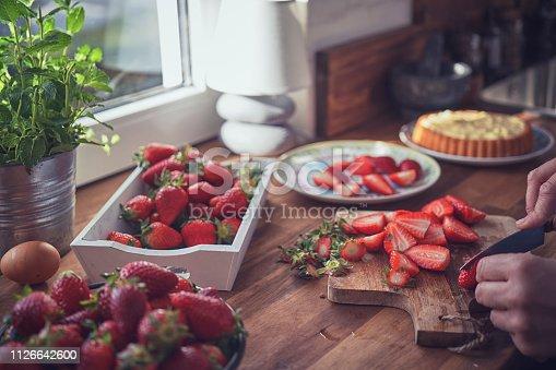 Preparing Strawberry Tart with Vanilla Cream
