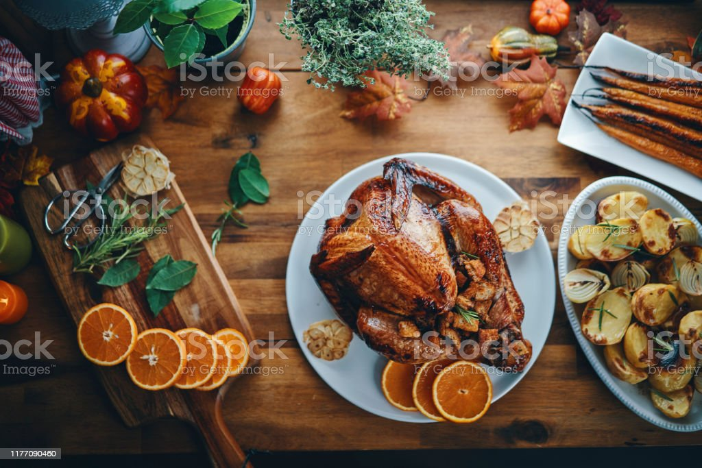 Preparing Stuffed Turkey for Holidays in Domestic Kitchen - Zbiór zdjęć royalty-free (Cebula)