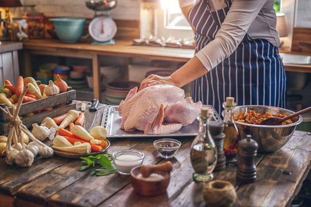 preparing stuffed turkey for holidays - peru carne branca imagens e fotografias de stock