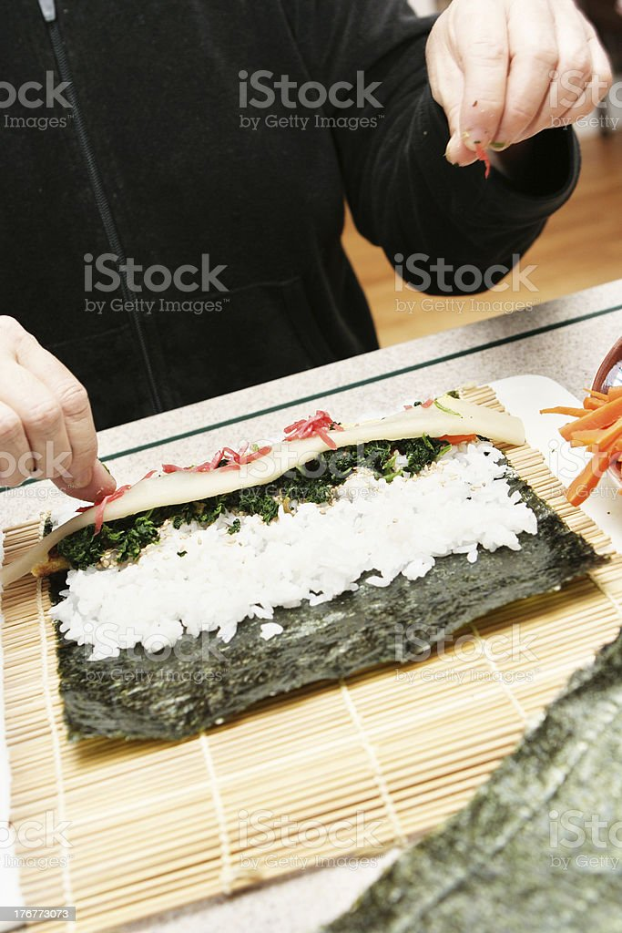 Preparing Sushi for Dinner royalty-free stock photo