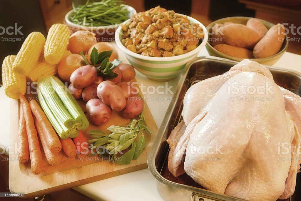 Preparing Thanksgiving Dinner with Fresh Turkey on Kitchen Counter royalty-free stock photo